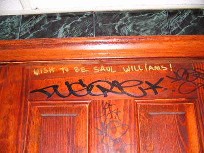 bathroom door at the Brooklyn Tavern